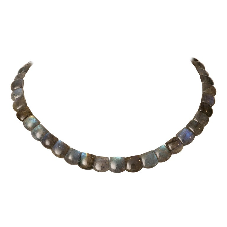 Cushion Cabochon Labradorite Choker Necklace For Sale