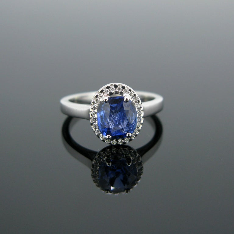 This modern ring is made in 18k white gold and features a cushion cut Ceylon sapphire with a weight of 1.44ct and no indication of heating. It is surrounded by 24 small diamonds with an approximate total carat weight of 0.20ct. It is a beautiful