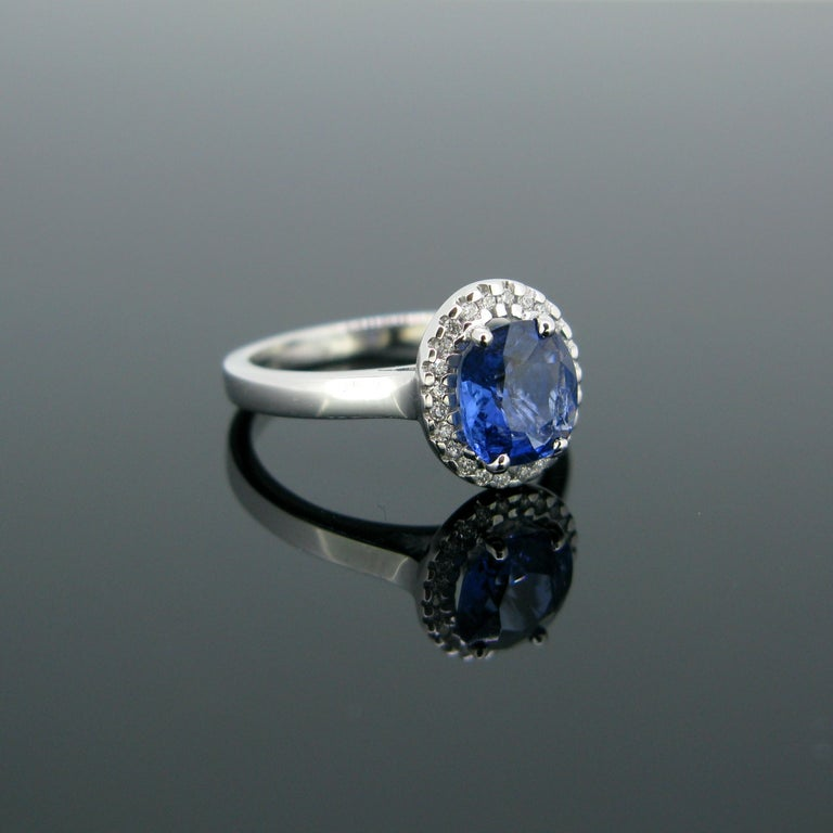 Contemporary Cushion Ceylon Sapphire Certified Diamond Cluster Band Ring For Sale