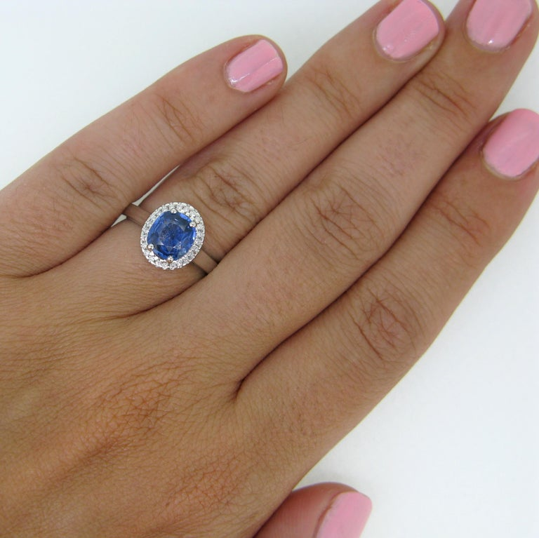 Cushion Ceylon Sapphire Certified Diamond Cluster Band Ring For Sale 3