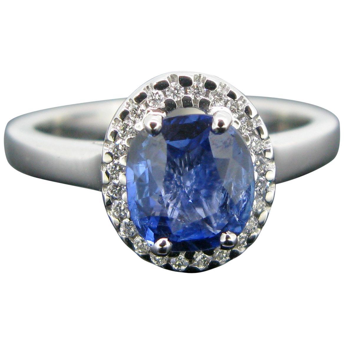 Cushion Ceylon Sapphire Certified Diamond Cluster Band Ring