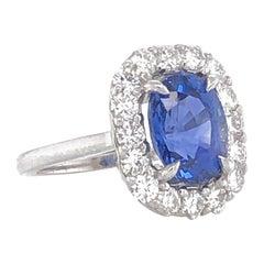 Cushion blue ceylon oval sapphire 4.69 ct round diamonds 1.28 ct platinum ring