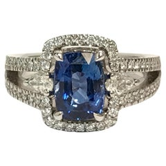Cushion Ceylon Sapphire Pear Shaped Diamonds White Gold Ring