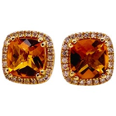 Cushion Citrine and Diamond Halo Earring Studs 14 Karat Gold November Birthstone