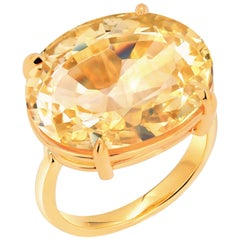 Cushion Citrine Raised Dome 18 Karat Yellow Gold Cocktail Ring