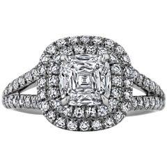 Cushion Cut 1.35 Carat Diamond Platinum Engagement Ring