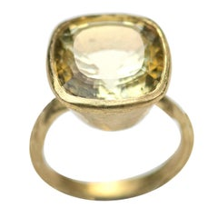 Cushion Cut 9.27 Carat Lemon Quartz 18 Karat Gold Ring Handmade by Disa Allsopp