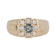 Cushion Cut Alexandrite Genuine Color Change Diamond Mens Gents Ring 14k Yellow
