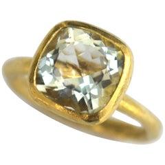 Cushion Cut Aquamarine 18 Karat Gold Ring Handmade by Disa Allsopp