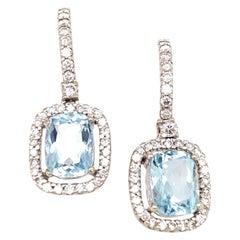 Cushion Cut Aquamarine Diamond Drop White Gold Earrings