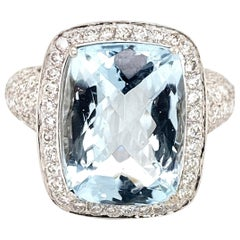 9 Carat Cushion Cut Aquamarine Diamond Platinum Cocktail Ring
