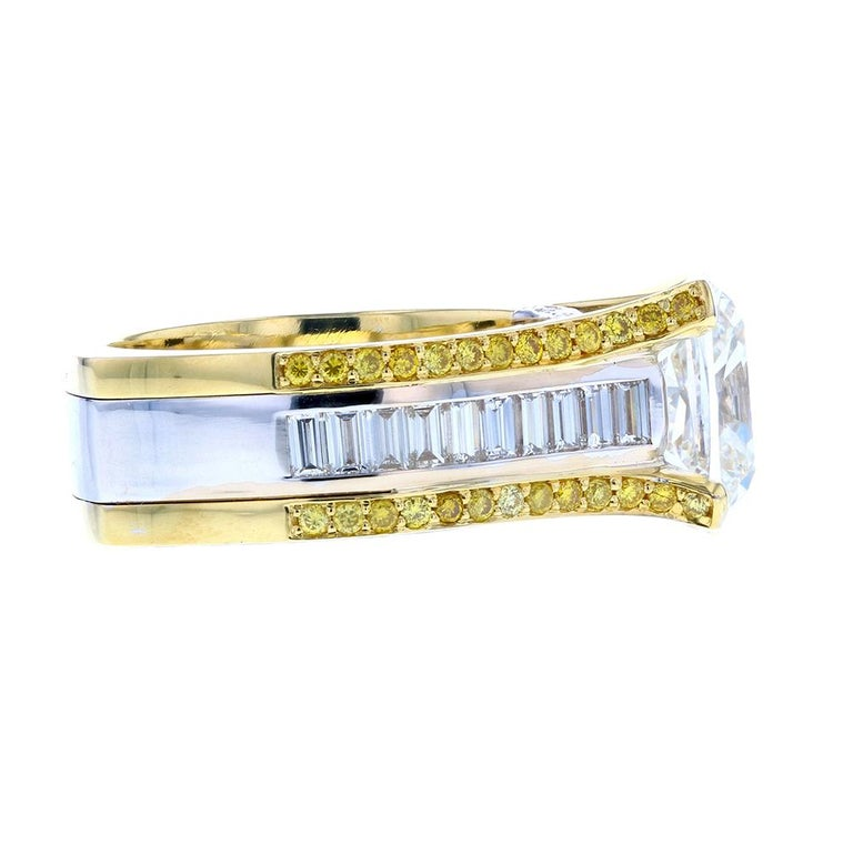 Art Deco Cushion Cut Baguette with Two-Tone Gold and Yellow Diamond Pave For Sale