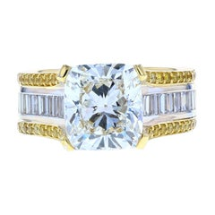 Cushion Cut Baguette with Two-Tone Gold and Yellow Diamond Pave