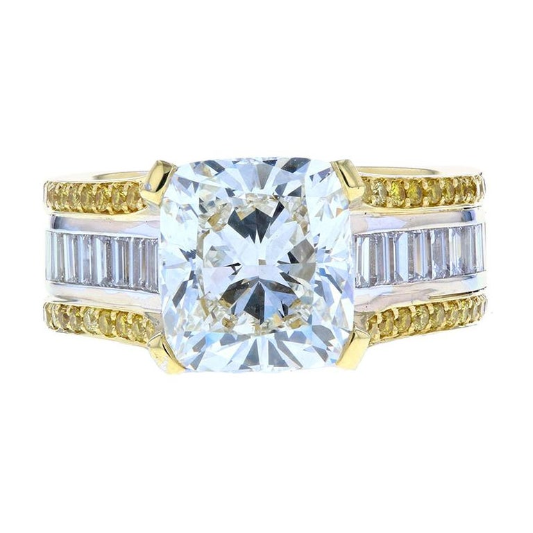 Cushion Cut Baguette with Two-Tone Gold and Yellow Diamond Pave For Sale