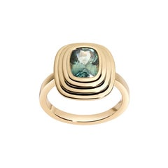 Cushion Cut Blue-Green Sapphire Step Ring by Selin Kent in Yellow Gold
