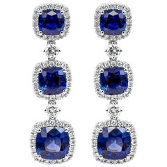 Cushion Cut Blue Sapphire and Diamond Halo Dangle Drop Earrings