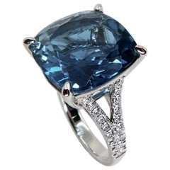 Cushion Cut Blue Topaz 15.80 Carat and Diamond Cocktail Ring, Big Statement