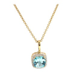 Cushion Cut Blue Topaz and Diamond 9 Carat Yellow Gold Pendant and Gold Chain