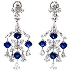 Cushion Cut Ceylon Blue Sapphires 7.73 ct Diamond Chandelier Platinum Earrings