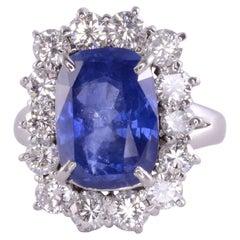 Cushion Cut Ceylon Sapphire & Diamond Ring