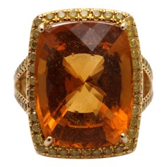 Cushion Cut Citrine Surrounded by Diamonds in Gold
