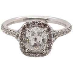 Cushion Cut Classic Diamond Halo Ring 1 Carat GIA in 18 Karat White Gold