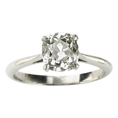 Cushion Cut Diamond and Platinum Solitaire Ring, 1.64 Carat