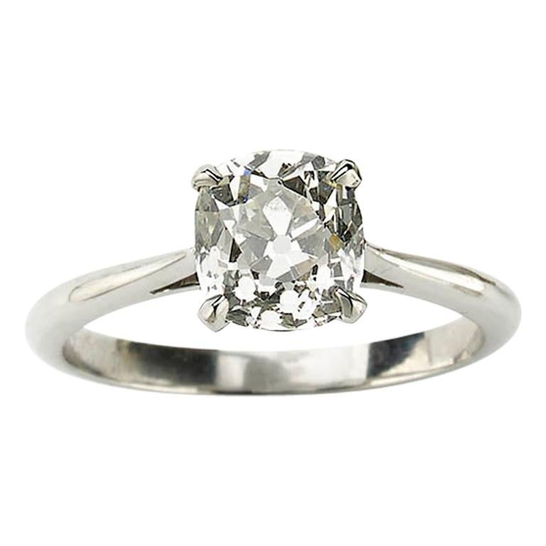 Cushion Cut Diamond and Platinum Solitaire Ring, 1.64 Carat For Sale