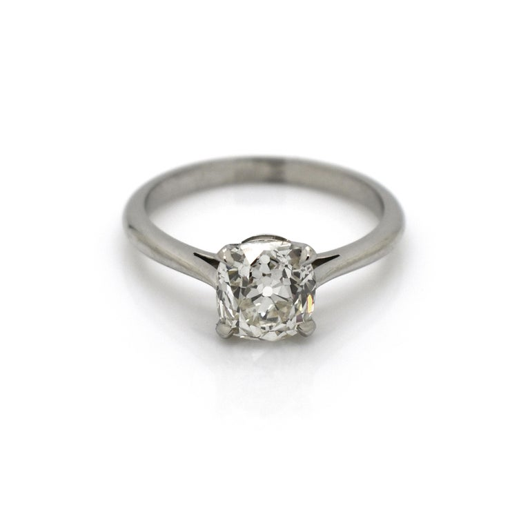 Modern Cushion Cut Diamond and Platinum Solitaire Ring, 1.64 Carat For Sale