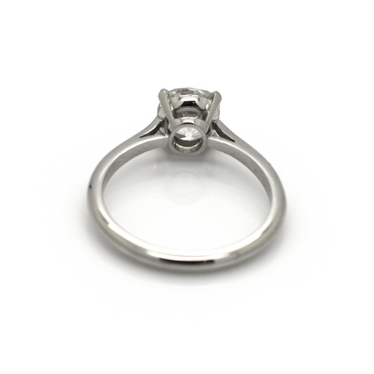 Old Mine Cut Cushion Cut Diamond and Platinum Solitaire Ring, 1.64 Carat For Sale