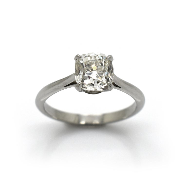 Women's Cushion Cut Diamond and Platinum Solitaire Ring, 1.64 Carat For Sale