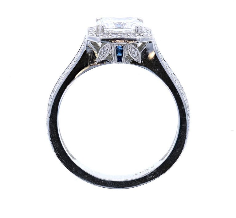 Art Deco Cushion Cut Diamond Engagement Ring with Blue Sapphires For Sale