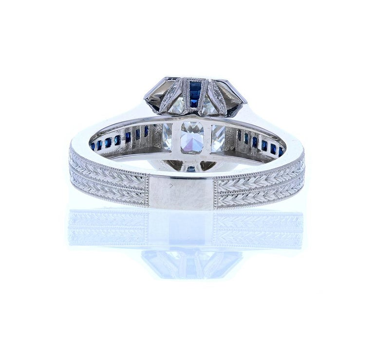 Cushion Cut Diamond Engagement Ring with Blue Sapphires In New Condition For Sale In Los Angeles, CA
