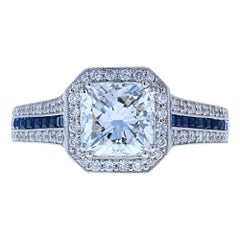 Cushion Cut Diamond Engagement Ring with Blue Sapphires