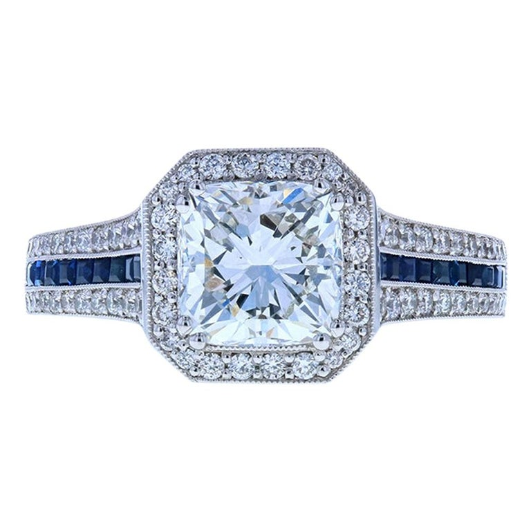 Cushion Cut Diamond Engagement Ring with Blue Sapphires For Sale