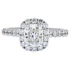 Cushion Cut Diamond Halo Engagement Ring 14 Karat White Gold
