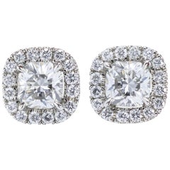 Cushion Cut Diamond Halo Stud Earrings