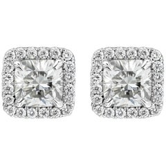 Cushion Cut Diamond Halo Stud Earrings