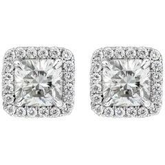 Roman Malakov, Cushion Cut Diamond Halo Stud Earrings
