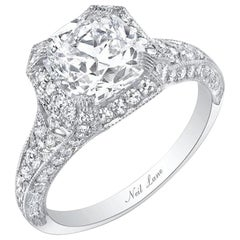 Neil Lane Couture Cushion Cut Diamond, Platinum Ring