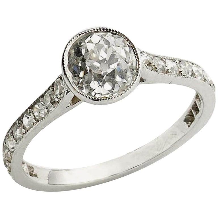 Cushion Cut Diamond Ring, 1.20 Carat For Sale