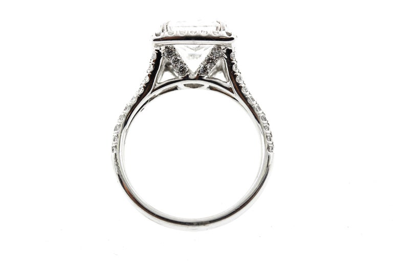 Contemporary Cushion Cut Diamond Ring with Halo 'GIA Certified' For Sale