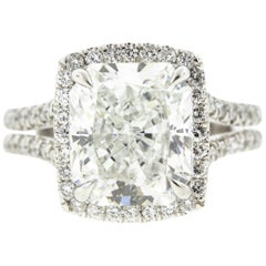 Cushion Cut Diamond Ring with Halo 'GIA Certified'
