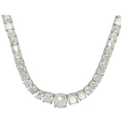 Cushion Cut Diamond Riviera Necklace with 72.46 Carat Total