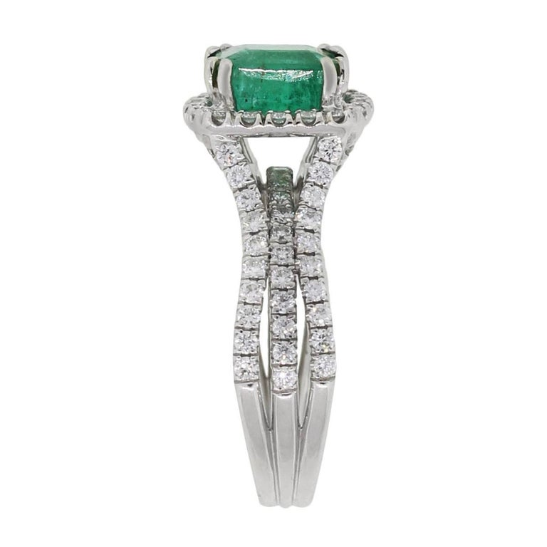 Cushion Cut Emerald And Diamond Ring For Sale At 1stdibs