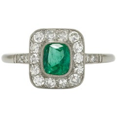 Cushion Cut Emerald Diamond Halo Oval Gemstone Art Deco Platinum Engagement Ring
