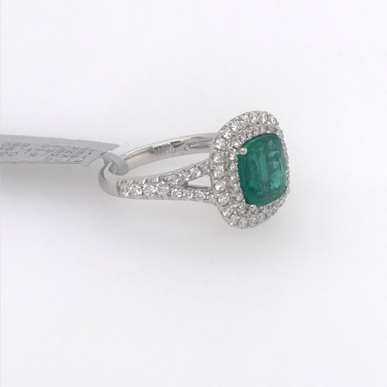 Contemporary Cushion Cut Emerald Double Halo Ring 2.64 Carat 18 Karat For Sale