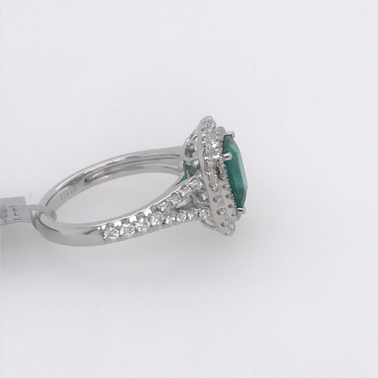 Cushion Cut Emerald Double Halo Ring 2.64 Carat 18 Karat In New Condition For Sale In New York, NY