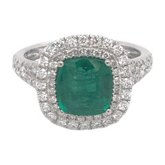 Cushion Cut Emerald Double Halo Ring 2.64 Carat 18 Karat