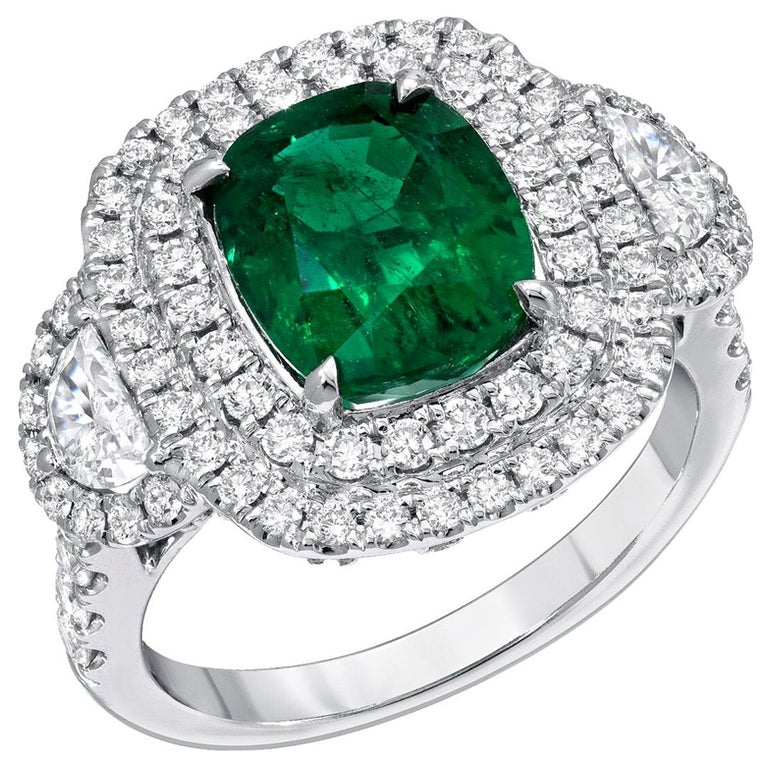 Emerald Ring 2.77 Carat Cushion Cut For Sale